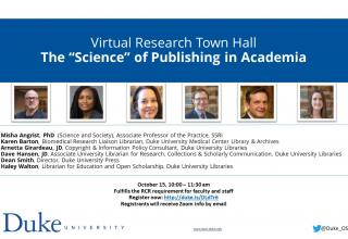 Science Publishing flyer with names and photos of the speakers